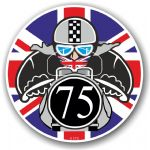 Year Dated 1975 Cafe Racer Roundel Design & Union Jack Flag Vinyl Car sticker decal 90x90mm